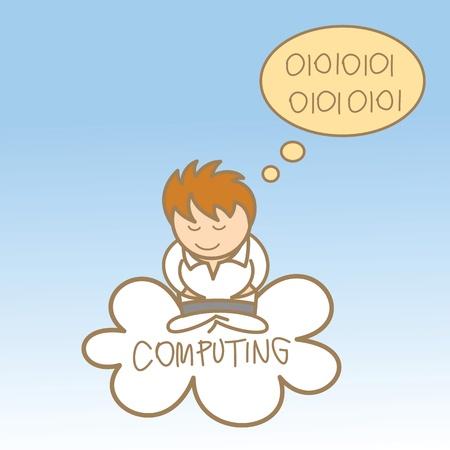 cartoon character of man sit on cloud computing Stock Vector - 17414634