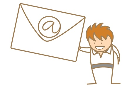 letterbox: cartoon character of man getting e-mail Illustration