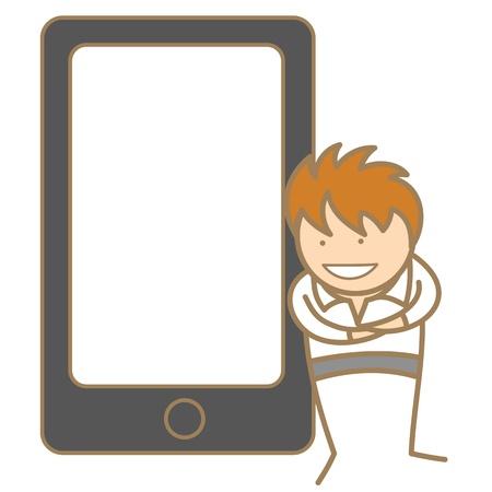 cartoon character of man presenting via cell phone Stock Vector - 17409853