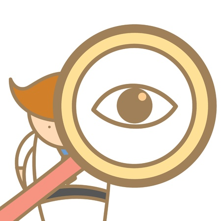 observe: cartoon character of  man searching using magnifyer Illustration