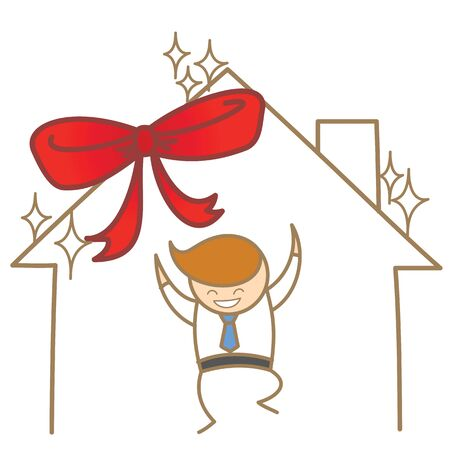 cartoon character of man happy with the new house Stock Vector - 17414577