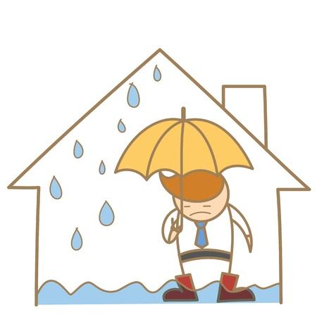 lekken: cartoon karakter van de mens in het lek dak huis Stock Illustratie