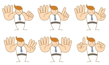 10 fingers: business man counting number six to ten Illustration
