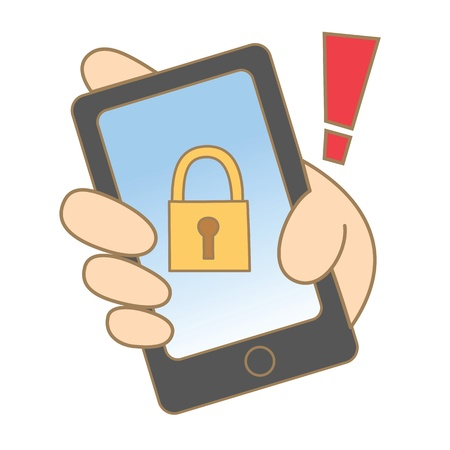 theif: cartoon drawing of mobile locked