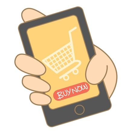 cartoon drawing of mobile shopping Stock Vector - 17414507