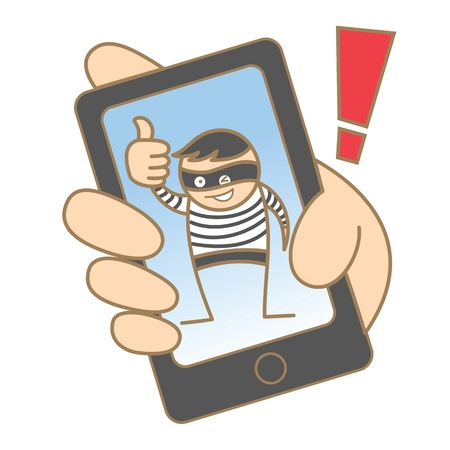 cartoon character of burglar hacking mobile data 일러스트
