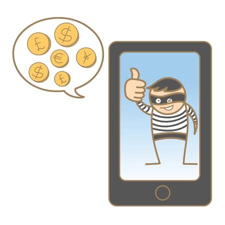 cartoon character of burglar hacking mobile