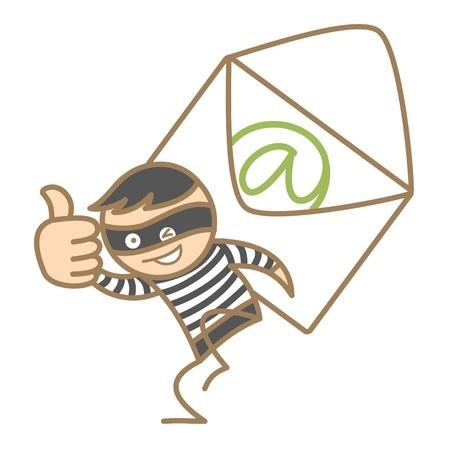 cartoon character of burglar getting e-mai content Illustration