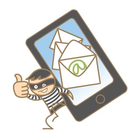 theif: cartoon character of burglar getting mobile data Illustration