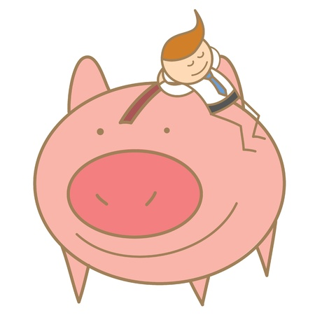 cartoon character of  man sleeping on his saving pig Stock Vector - 17414459