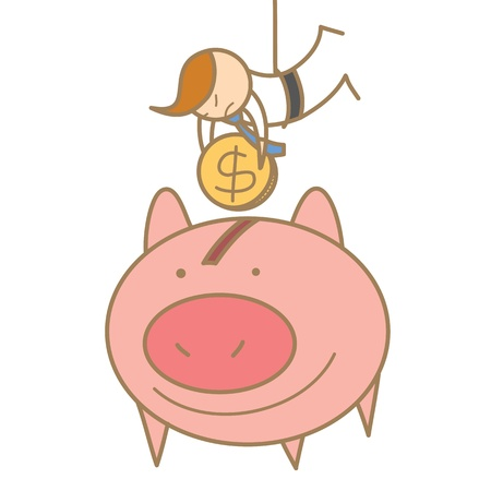 cartoon character of  man hanging to save money Stock Vector - 17414461