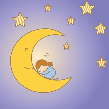 girl sleeping on moon among star Stock Vector - 17414602