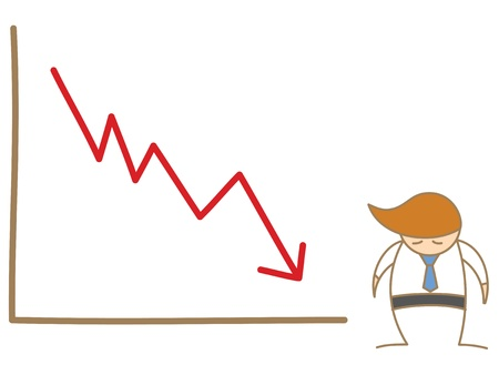 sad man and drop graph Vector