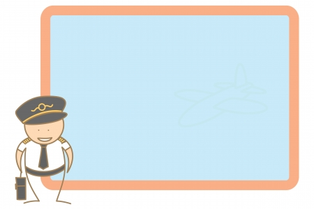 cartoon character pilot present message on board;