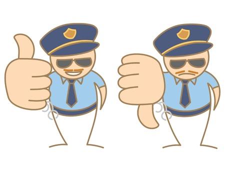 cops: police man thumbs up - down saying like and dislike