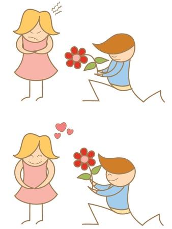 sad love: cartoon of couple proposing