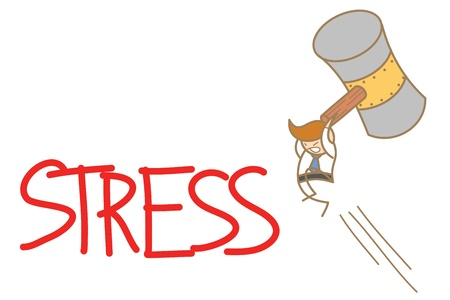 work stress: cartoon character of  man smashing stress