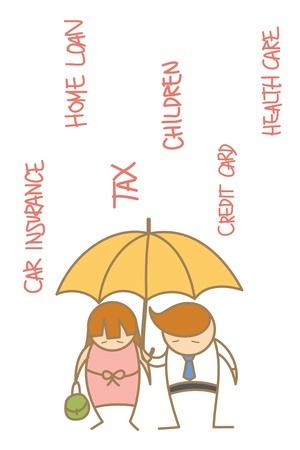 famille malheureuse: personnage de dessin anim� de couple sous charge tombant Illustration