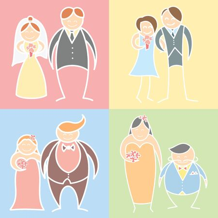 cartoon character set of wedding couples Stock Vector - 17405643