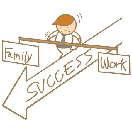 man balancing family and work Stock Vector - 17414532