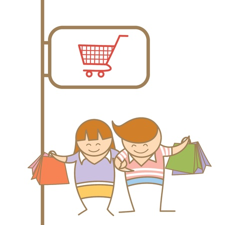 cartoon character of couple enjoy shopping Vector