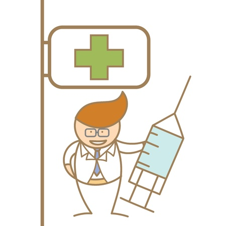 cartoon character of doctor holding syringe in front of hospital Vector