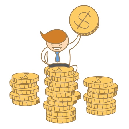 cartoon character of business man sitting on top of dollar coin Stock Vector - 17502193