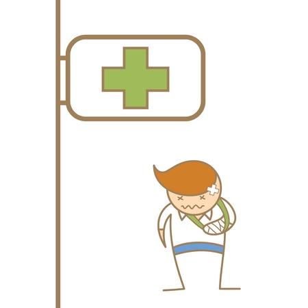 cartoon character of man broken his arm Illustration