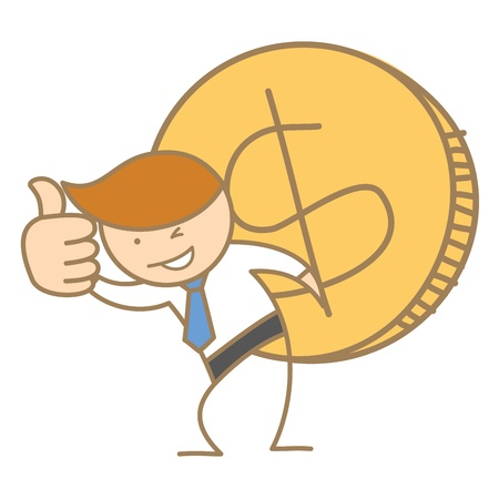 cartoon character of business man carrying big dollar coin Vector
