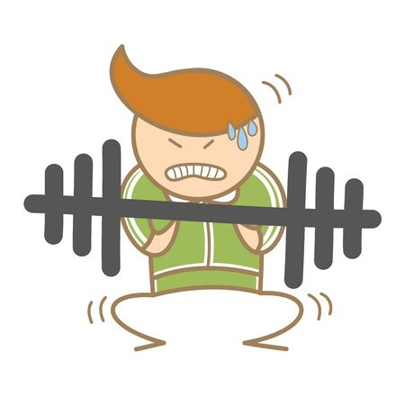 weak: cartoon character of man workout on barbell Illustration
