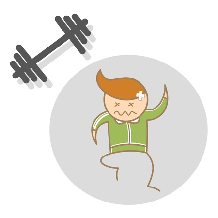 cartoon character of man workout exhausted Vector