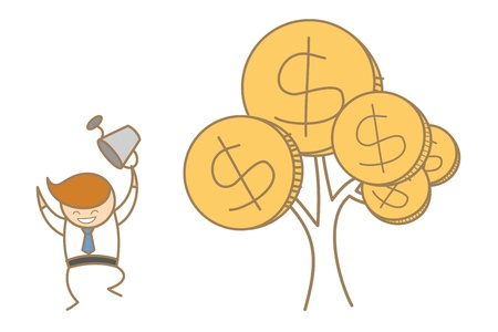 cartoon character of business man happy with his money tree Vector