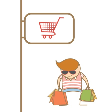 cartoon character of man enjoy shopping Vector