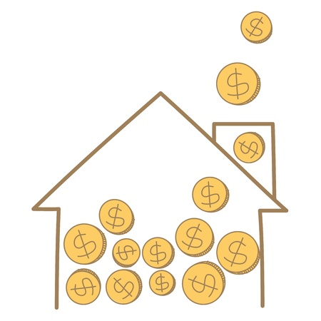 cartoon drawing of money coin falling on house frame Stock Vector - 17502211