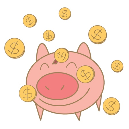 money boxes: cartoon drawing of money coin falling on pig money box