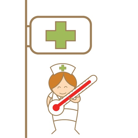 cartoon character of nurse holdng thermometer in front of hospital Stock Vector - 17502205