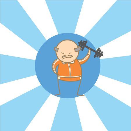 incominciare: personaggio dei cartoni animati di vecchio comincia a allenamento