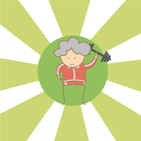 begin: cartoon character of old woman begin to workout