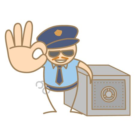 cartoon character of police man guarding money box Vector