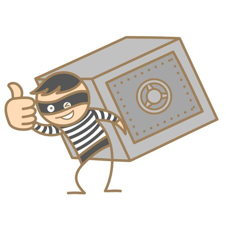 cartoon character of burglar carrying money box Vector