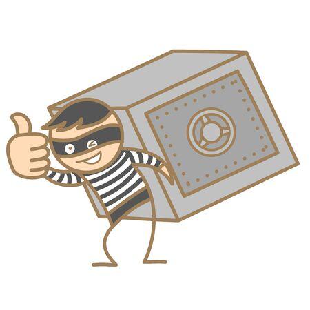 burglar man: cartoon character of burglar carrying money box