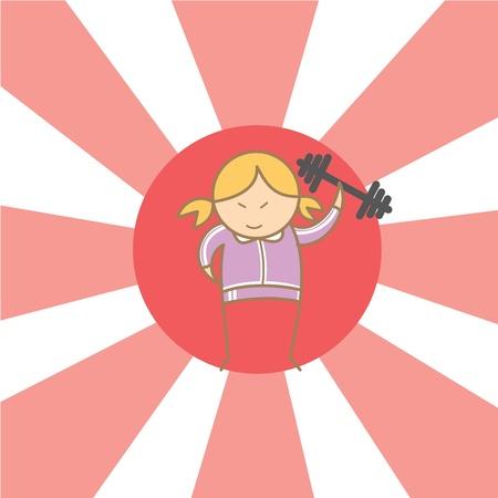 begin: cartoon character of girl begin to workout