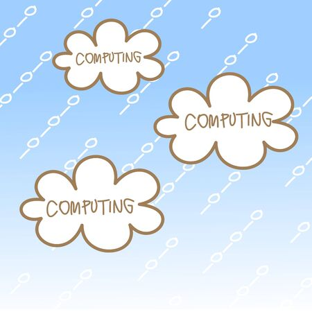 cartoon drawing of cloud computing concept Vector