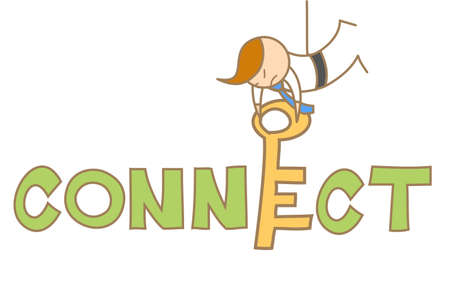 cartoon character of man put a key to connect Stock Vector - 17502187