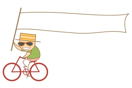 cartoon character of man holding a white long advertising flag  riding bike Vector