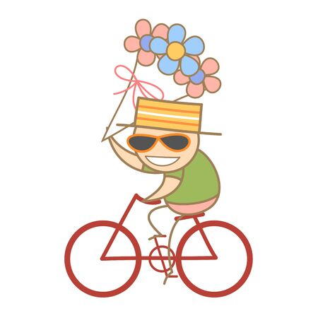 cartoon charater of man holding a bunch of flowrer while riding bike