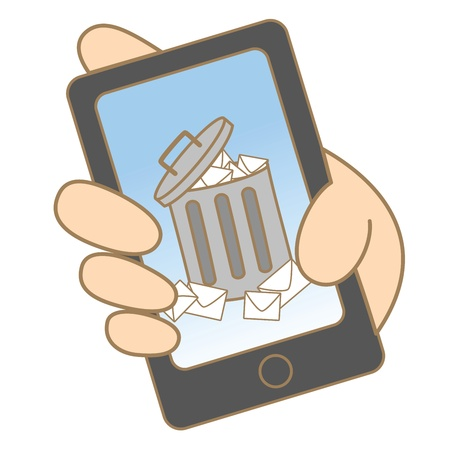 cartoon drawing of junk e-mail on mobile phone Illustration