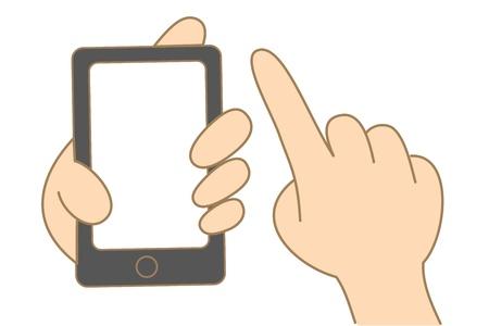 漫画の手保持の図面とタッチ スクリーン携帯電話を使用します。
