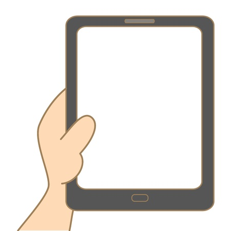 holding smart phone: cartoon drawing of hand holding tablet Illustration