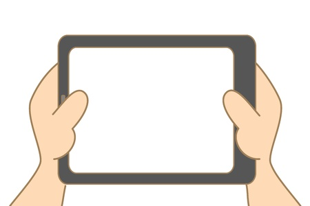 cartoon drawing of hand holding tablet Vector